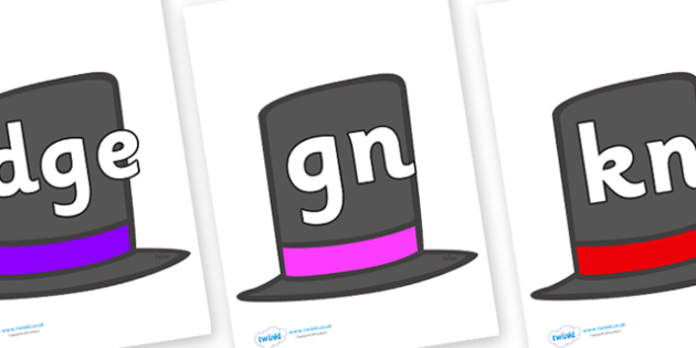 Silent Letters on Top Hats - Silent Letters, silent letter, letter blend, consonant, consonants, digraph, trigraph, A-Z letters, literacy, alphabet, letters, alternative sounds