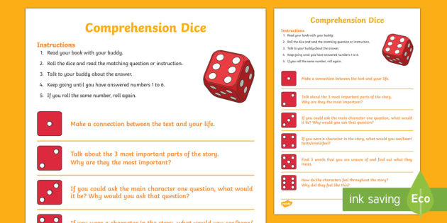 Reading Prehension Dice Game Literacy Reading Dice
