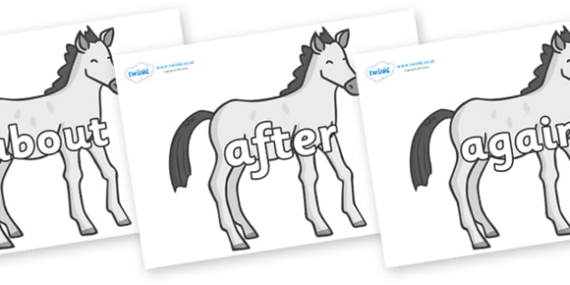 KS1 Keywords on Ponies - KS1, CLL, Communication language and literacy, Display, Key words, high frequency words, foundation stage literacy, DfES Letters and Sounds, Letters and Sounds, spelling