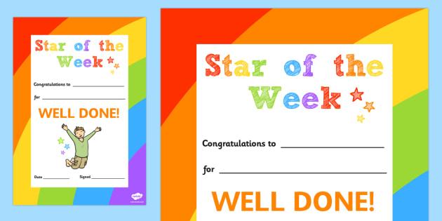 Star of the Week Decorative Certificate - certificate, star, week