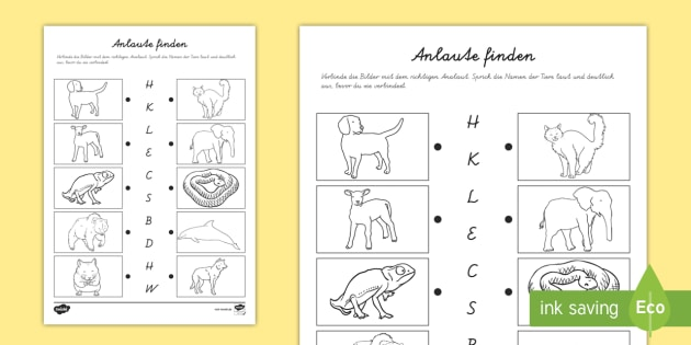 NEW * Anlaute mit Tieren finden Arbeitsblatt - Anlaut