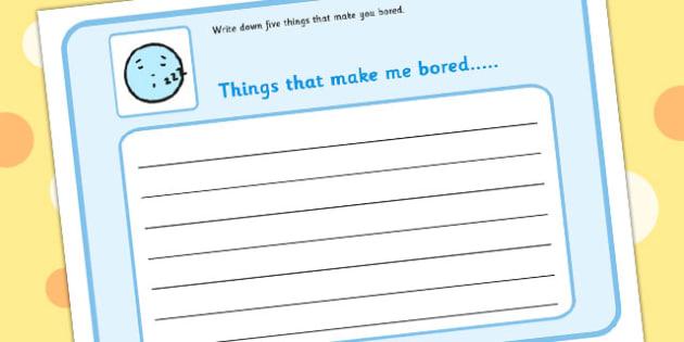 5 Things That Make You Bored Writing Frame - feelings, emotions, SEN