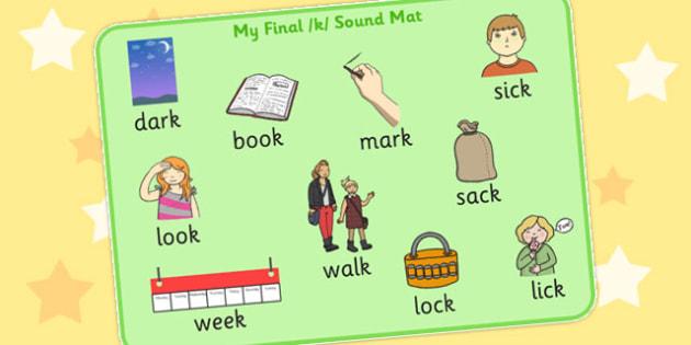 Final K Sound Word Mat 2 - final, k, sound, word mat, word, mat