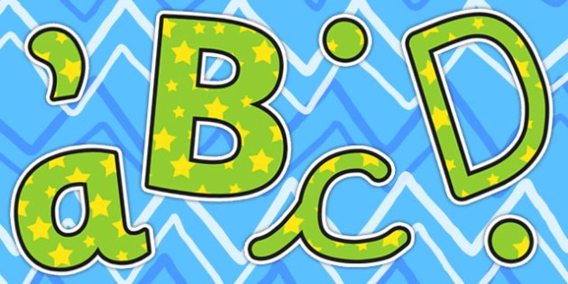 Green and Yellow Stars Themed Size Editable Display Lettering