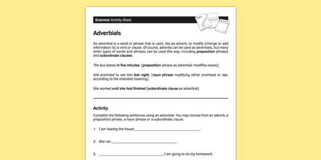 KS3 English Curriculum Adverbials Activity Sheet - ks3, english, curriculum, activity sheet, adverbials, grammar, worksheet