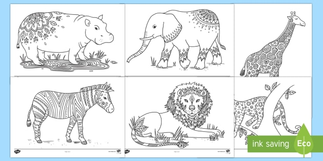 Safari Mindfulness Coloring Sheets (teacher Made)