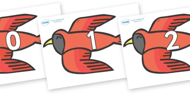 Numbers 0-100 on Red Bird to Support Teaching on Brown Bear, Brown Bear - 0-100, foundation stage numeracy, Number recognition, Number flashcards, counting, number frieze, Display numbers, number posters