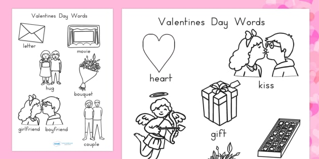 Valentine's Day Words Colouring Sheets - valentines, colour, love