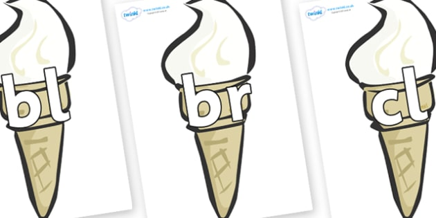 Initial Letter Blends on Ice Creams - Initial Letters, initial letter, letter blend, letter blends, consonant, consonants, digraph, trigraph, literacy, alphabet, letters, foundation stage literacy