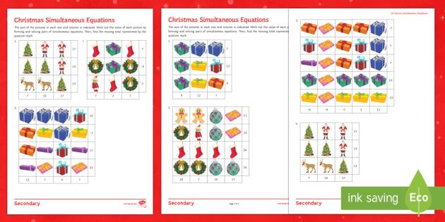 Christmas Algebra Differentiated Worksheet Activity Sheets Algebra