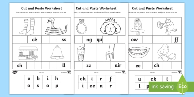 Phase 2 and 3 Sounds Cut and Paste Worksheet - CVC Words Cut ...