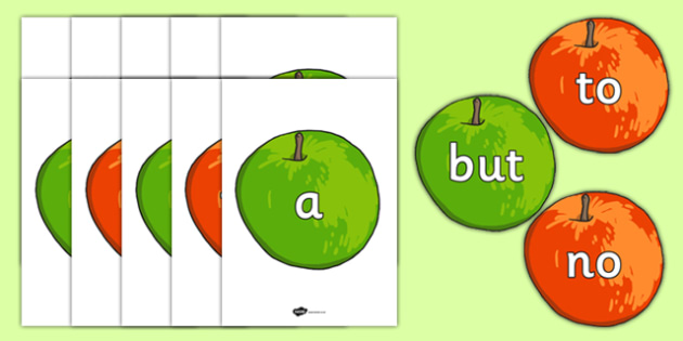 Phase 2 High Frequency and Tricky Words on Apples - phase 2, high frequency words, tricky words, tricky, high frequency, apples