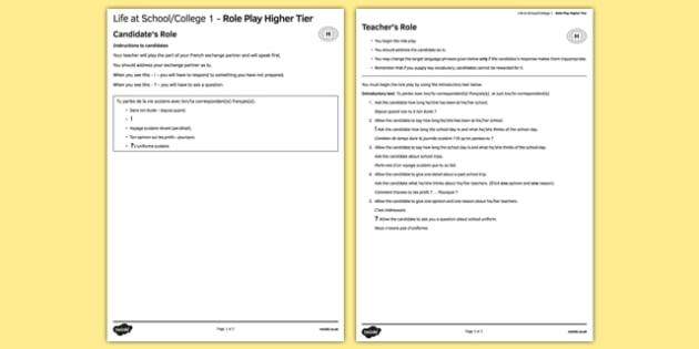 La vie scolaire 1 Jeu de rôle Higher Tier - french, School, education, école, éducation, role play, higher, speaking