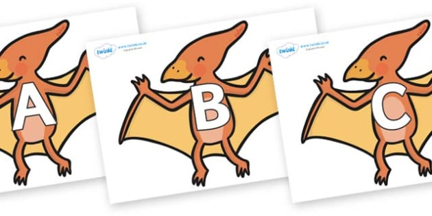 A-Z Alphabet on Pterodactyl Dinosaurs - A-Z, A4, display, Alphabet frieze, Display letters, Letter posters, A-Z letters, Alphabet flashcards