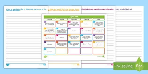 Calendar Ideas Twinkl : April writing prompts display calendar creative