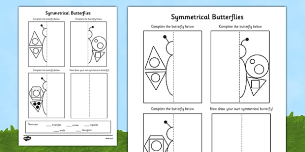 Butterfly Symmetry Shape Worksheet / Activity Sheet (Minibeasts) - minibeasts, shapes, maths