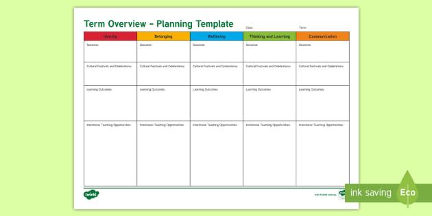 eylf term overview planning template  teacher made