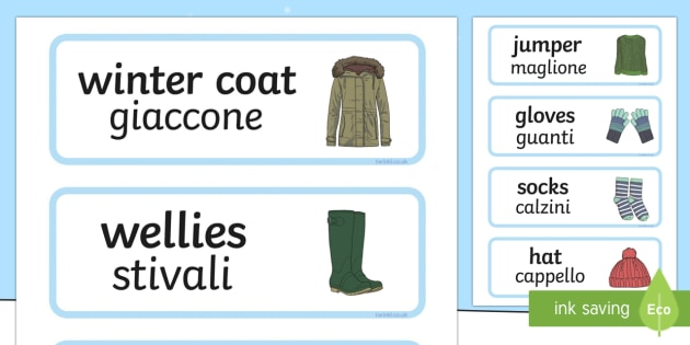 Winter Clothes Word Cards English/Italian - Winter Clothes Word Cards - winter clothes, word cards, winter, clothes,wnter, wintre