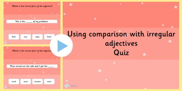 Using Comparison with Irregular Adjective Grammar PowerPoint
