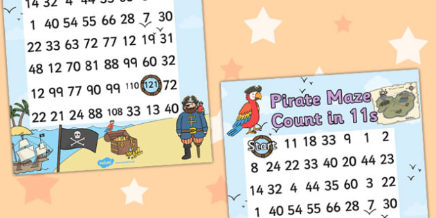 Pirate Themed Counting in 11s Maze Worksheet - pirates, count