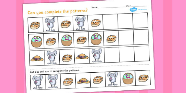 Easter Complete the Pattern Worksheet - easter, pattern, sheet