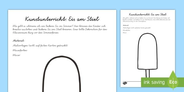 Eis am Stiel Arbeitsblatt: Lesen und Malen - Sommer