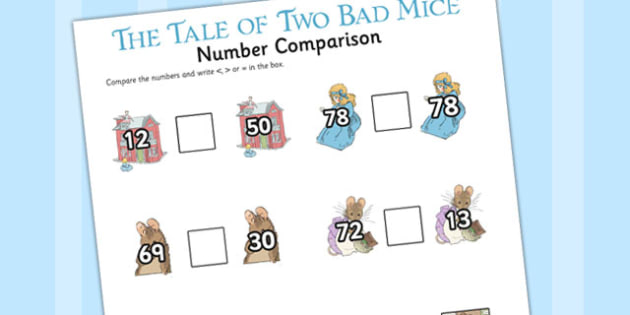 The Tale of Two Bad Mice Number Comparison Worksheet - two bad mice