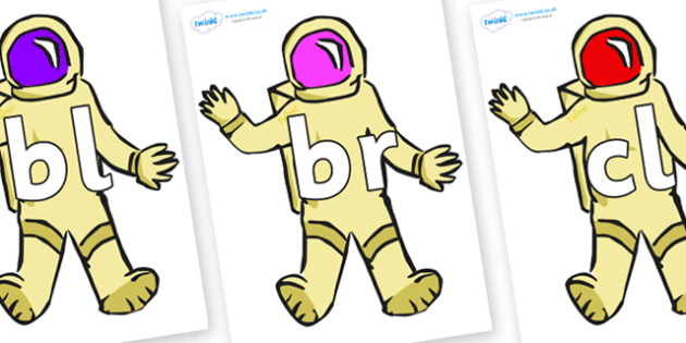 Initial Letter Blends on Astronauts - Initial Letters, initial letter, letter blend, letter blends, consonant, consonants, digraph, trigraph, literacy, alphabet, letters, foundation stage literacy