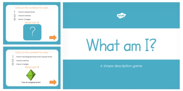 What am I? 3D Shape Properties PowerPoint - australia, 3d shape
