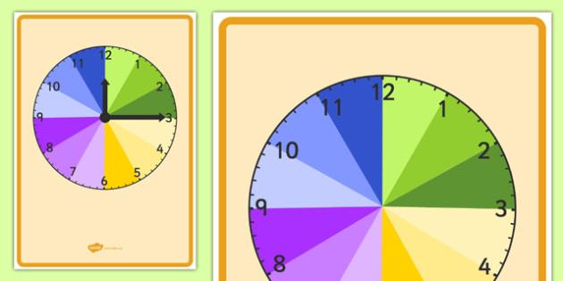 A4 Display Clock Teaching Time - a4, display clock, teaching, time, teach, display, clock