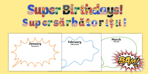 Superhero Themed Birthday Display Pack Romanian Translation