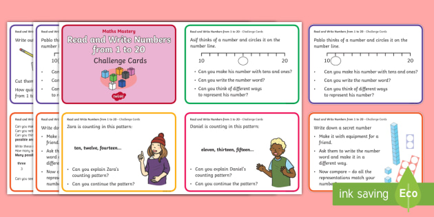 Year 1 Read And Write Numbers From 1 To 20 Maths Mastery Challenge Cards