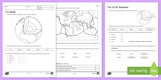Tectonic Plates Worksheet