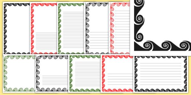 Koru Page Borders Pack - nz, new zealand, koru, page borders, pack, page, borders, writing frames