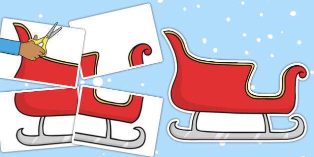Large Christmas Sleigh Display Cut-Out - christmas, sleigh, outline