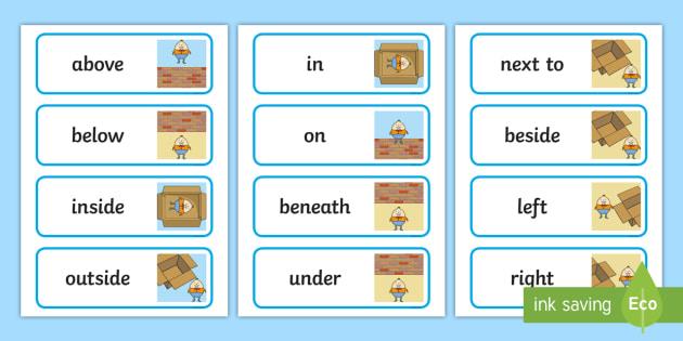 humpty dumpty positional language word cards positional language