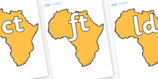 Final Letter Blends on Africa - Final Letters, final letter, letter blend, letter blends, consonant, consonants, digraph, trigraph, literacy, alphabet, letters, foundation stage literacy