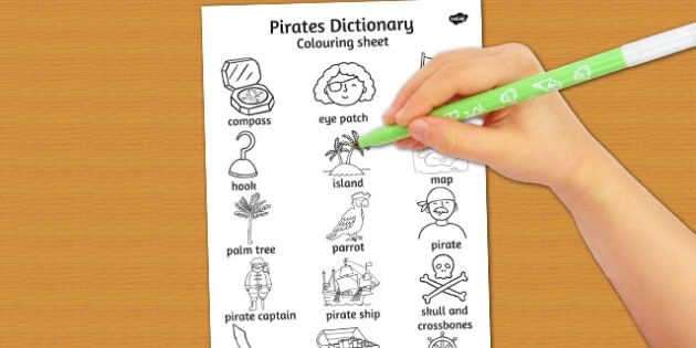 Pirates Dictionary Colouring Sheet - pirates, colouring, sheet