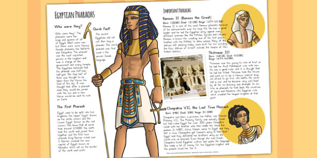 The Ancient Egyptians Pharaohs Information Print Out - australia