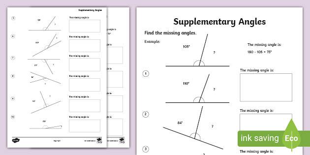Supplementary Angles Worksheet (teacher Made)