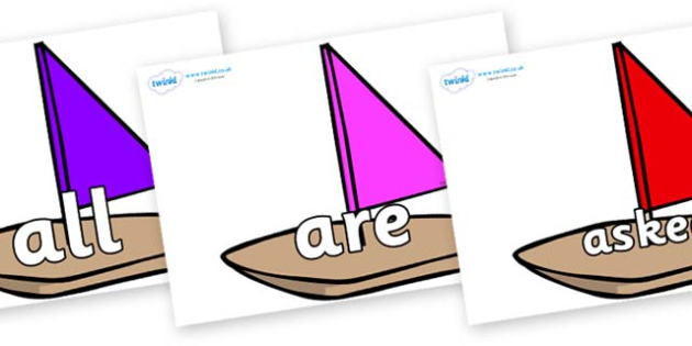 Tricky Words on Toy Boats - Tricky words, DfES Letters and Sounds, Letters and sounds, display, words