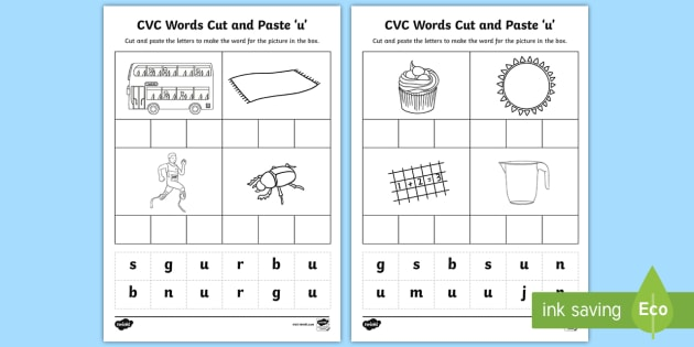 CVC Words Cut and Paste Worksheets u - CVC worksheets, CVC ...
