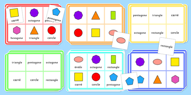 2D Shape Bingo French - french, 2d shape, bingo, game, activity, shape, 2d, maths, numeracy,2Dshape