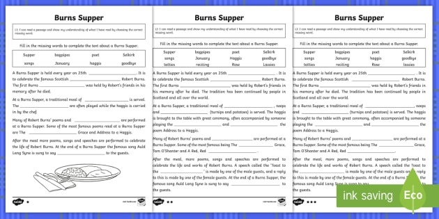 Burns Supper Cloze Passage Differentiated Worksheet Activity