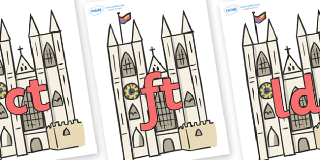 Final Letter Blends on Cathedrals - Final Letters, final letter, letter blend, letter blends, consonant, consonants, digraph, trigraph, literacy, alphabet, letters, foundation stage literacy