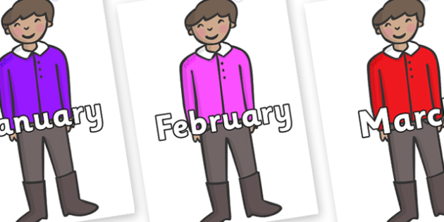 Months of the Year on Boys - Months of the Year, Months poster, Months display, display, poster, frieze, Months, month, January, February, March, April, May, June, July, August, September