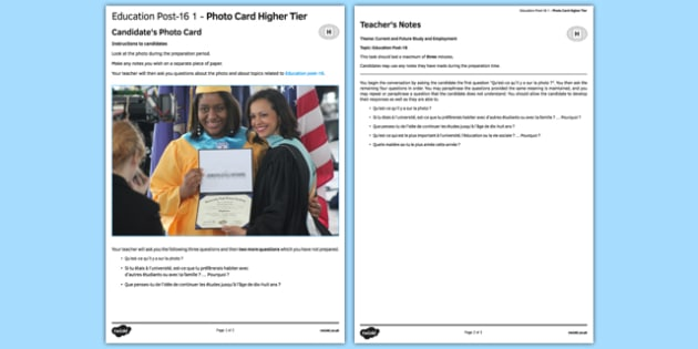 Education Post-16 GCSE Higher Tier Photo-Card French - speaking, oral, college, collège, university, future, plans, course, apprenticeship