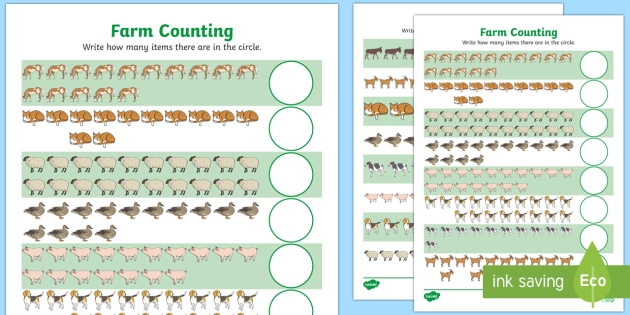 Free Farm Animals Counting Worksheet Up To 20