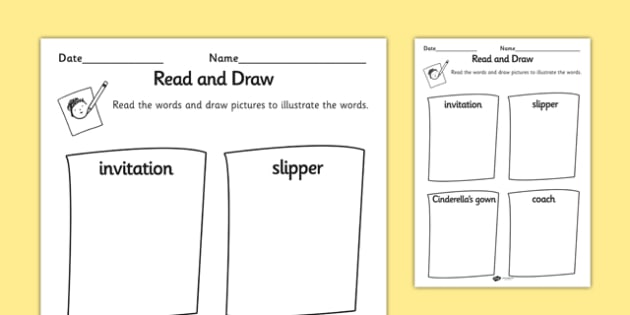 Cinderella Read and Draw Worksheet - cinderella, read, draw