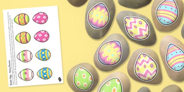 Easter Egg Story Stone Image Cut Outs - Story stones, stone art, painted rocks, storytelling, celebration, festival